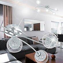 MIA Light 5-flammige Wandleuchte aus Glaskugeln klar mit Drahtgeflecht in chrom
