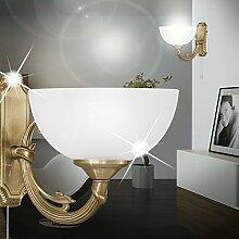 MIA Light Antike Wandleuchte aus Glas weiß und Metallguss mit Zugsschalter
