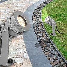 MIA Light Boden Strahler AUSSEN ↥150mm/ LED/ Silber/ Alu/ Fluter Flutlicht Aussenlampe Aussenleuchte Aussenstrahler Gartenlampe Gartenleuchte