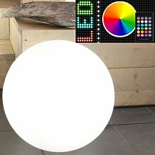 MIA Light Deko Kugel Leuchte AUSSEN Ø300mm/ RGB/ Dimmbar/ Fernbedienung/ Modern/ Weiß/ Kunststoff/ Lampe Aussenlampe Aussenleuchte Gartenlampe Gartenleuchte