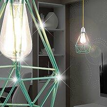 MIA Light Design Industrie Hängeleuchte im Shabby Stil mit Käfig aus Alu in türkis