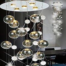 MIA Light Glas Kugel Hänge Leuchte Ø450mm/ Design/ Chrom/ Pendel Lampe Hängelampe Hängeleuchte Pendellampe Pendelleuchte