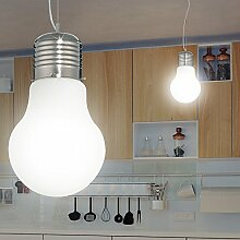MIA Light Glüh Birne Hänge Leuchte Ø300mm/ Design/ Weiß/ Glas/ Pendel Lampe Hängelampe Hängeleuchte Pendellampe Pendelleuchte