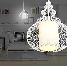 MIA Light Hängeleuchte in Orient Design aus Glas mit Käfig aus Metall in weiß