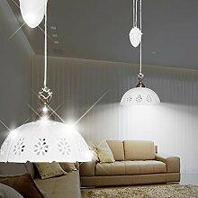 MIA Light Keramik Hänge Leuchte Ø300mm/ Landhaus/ Rustikal/ Weiß/ Messing/ Pendel Lampe Porzellan Zug Hängelampe Hängeleuchte Pendellampe Pendelleuchte