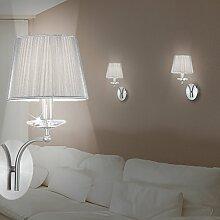 MIA Light Klassische Wandleuchte mit Schirm aus PVC und Silberfäden in silber