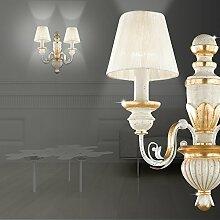 MIA Light Klassische Wandleuchte mit Stoffschirm aus Organza weiß und Harz in goldfarben