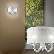 MIA Light Klassische Wandleuchte mit Stoffschirm aus Organza weiß und Glas mundgeblasen in chrom