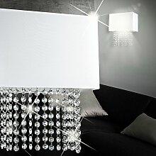 MIA Light Klasssische Wandleuchte mit Stoffschirm weiß und Behang aus Kristallen