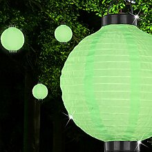 MIA Light Lampion Solar Hänge Leuchte Ø255mm/LED/Asia/Grün/Kunststoff/Party Pendel Lampe Deko Aussenlampe Aussenleuchte Gartenlampe Gartenleuchte Hängelampe Hängeleuchte Solarlampe Solarleuchte