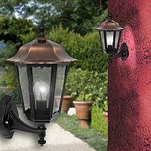 MIA Light Laterne Wand Leuchte AUSSEN Ø245mm/Klassisch/Kupfer/Schwarz/Kupfer/Lampe Aussenlampe Aussenleuchte Wandlampe Wandleuchte