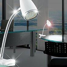 MIA Light LED Klemm ↥330mm/ Modern/ Weiß/ Lampe Bürolampe Büroleuchte Klemmlampe Klemmleuchte