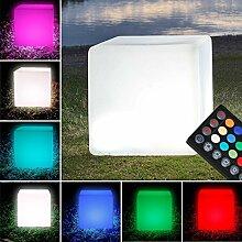 MIA Light LED - RGB Lounge Leuchtwürfel 30x30cm/ Aussen / Deko ( Sitzwürfel Leuchte - Würfelleuchte ) Leuchtobjekt - Lichtobjekt - Aussenlampe - Aussenleuchte - Gartenlampe - Gartenleuchte