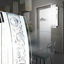 MIA Light LED Wandleuchte aus Glas opal mit Klarrand und Kristallen klar in chrom, Touchdimmer