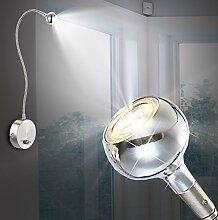 MIA Light Moderne LED Wandleuchte in chrom mit Flexarm