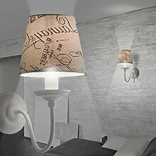 MIA Light Moderne Wandleuchte mit Stoffschirm mit Dekor in beige und weiß