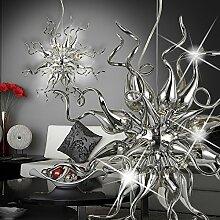MIA Light Orientalische Hänge Leuchte Design/ Orient/ Grau/ Chrom/ Glas/ Pendel Lampe Arabische Marokkanische Hängelampe Hängeleuchte Pendellampe Pendelleuchte