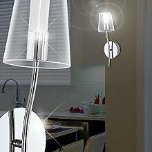 MIA Light Runde LED Wandleuchte mit Schirm aus Glas klar in chrom