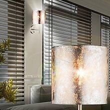 MIA Light Runde Wandleuchte mit Stoffschirm silber