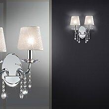MIA Light Schirm Wand Leuchte Kristall/ Klassisch/ Stoff/ Weiß/ Chrom/ Textil/ Lampe Schirmlampe Schirmleuchte Stofflampe Stoffleuchte Wandlampe Wandleuchte