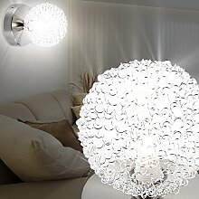 MIA Light Wandleuchte aus Glas klar und Edelstahl in Kugelform mit Drahtgeflech