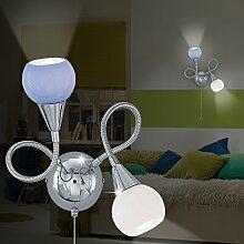 MIA Light Wandleuchte aus Glas weiß und blau in