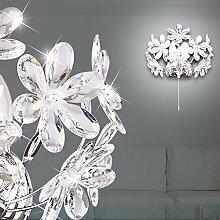 MIA Light Wandleuchte mit Blumen aus Acrylkristallen klar in chrom mit Zugschalter