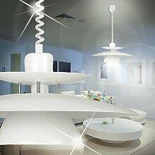 MIA Light Zug Hänge Leuchte Ø430mm/ Modern/ Weiß/ Glas/ Alu/ Pendel Lampe Höhenverstellbar Hängelampe Hängeleuchte Pendellampe Pendelleuchte