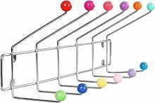 Miadomodo–Wandgarderobe Garderobe mit 12Haken mehrfarbigen Kugeln (Menge frei wählbar).