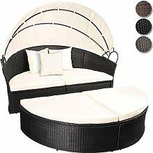 Miadomodo Hochwertige Polyrattan Ø 180 cm Sonneninsel Lounge Liege (Farbwahl) inkl. Kissen, Sitzauflage und Sonnendach (Schwarz)
