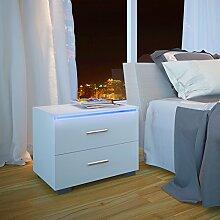 MIADOMODO Nachttisch Weiß Hochglanz für