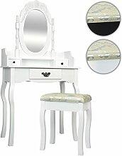 Miadomodo® Schminktisch Spiegeltisch Frisierkommode Frisiertisch Kosmetiktisch Sekretär Sitzbank inkl. Hocker und Spiegel im Barockstil wahlweise (ca. 76/40/149 cm) - weiss oder schwarz
