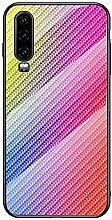 Miagon Glas Handyhülle für Huawei P30,Kohlefaser