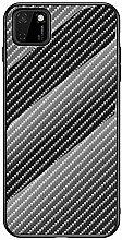 Miagon Glas Handyhülle für Huawei Y5P,Kohlefaser
