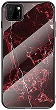 Miagon Glas Handyhülle für Huawei Y5P,Marmor