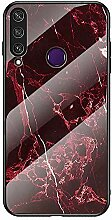 Miagon Glas Handyhülle für Huawei Y6P,Marmor