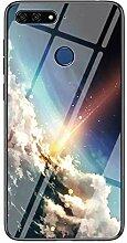 Miagon Glas Handyhülle für Huawei Y7 2018,Himmel
