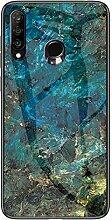 Miagon Glas Handyhülle für Huawei Y7 2019,Marmor
