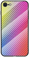 Miagon Glas Handyhülle für iPhone 7/8,Kohlefaser