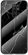 Miagon Glas Handyhülle für Xiaomi Redmi 9,Marmor