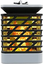 MIANBAOSHU LED Solar Laterne Gartendeko Rattan Optik Solar Leuchte - Solarlampe, Romantisch Landschaft FlammeLaternen mit Kerzen-Flackerlicht Solarleuchte Deko-lampe [Energieklasse A+++]