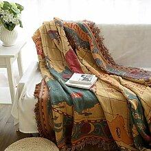 MIAO Sofa Handtuch Welt Karte Tischdecke Werfen