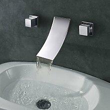miaoge Chrome Finish verbreitet Designer Curve Auslauf Wasserfall Waschbecken Wasserhahn