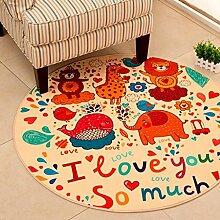 Miaoge Modern einfach rund Teppich Van Schlafzimmer Wohnzimmer Couchtisch Fußauflage Kinder Karikatur Matte Nachttischdecke 1600mm*1600mm