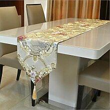Miaoge Relief Tuch Mode European bronze Spiegel Blume Tischläufer Luxus Klassik Tischfahne 28*38cm