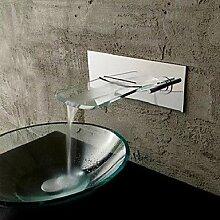 miaoge Wand montiert verchromtem Kupfer Wasserfall Waschbecken Wasserhahn–Silber