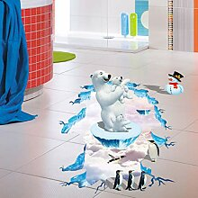 miaoqiushiyi Eisbär 3D Boden Aufkleber