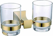 MIAORUI volle vermessingt gold konischen zahnbürste doppel - cup rack / bad anhänger bad