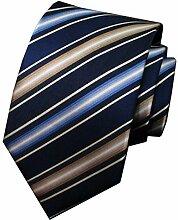 MIAOWANG Business Krawatte der Männer Hochzeit Krawatte Blau Weiß Gelb Dreifarbige Streifen Krawatte 100% Maulbeerseide