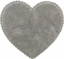 miaVILLA Badematte Heart - Herzform - romantisch - Baumwolle - 80 x 90 cm - Grau